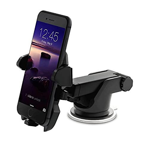 TOTIE Car Mount Holder,Universal Car Dashboard Windshield Phone Mount for iPhone 7s 6s Plus 7 6 6s 5s 5c Samsung Galaxy S8 Edge S7 S6 Note 5 6 7 & Smartphones,Black