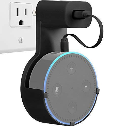 GMYLE Echo Dot 2 Wall Mount Hanger Holder Stand for Amazon Alexa Echo Dot 2nd Generation Without Mess Wires Or Screws, Dot Accessories, Compact Holder Case Plug in Kitchens, Bathroom And Bedroom