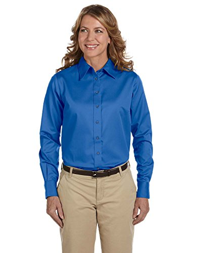 - Harriton Ladies Easy Blend Long-Sleeve Twill Shirt, 3XL, French Blue