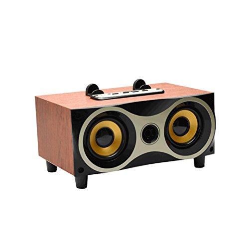 YRD Tech 2018 New Portable Wooden Wireless Speaker 3D HiFi Stereo Retro Dual Loudpeaker BT,USB,Memory Card (red) by YRD TECH