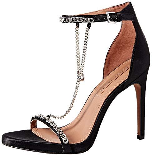 BCBGMAXAZRIA Women's Ella Dress Sandal Sandal, black satin, 9.5 M US
