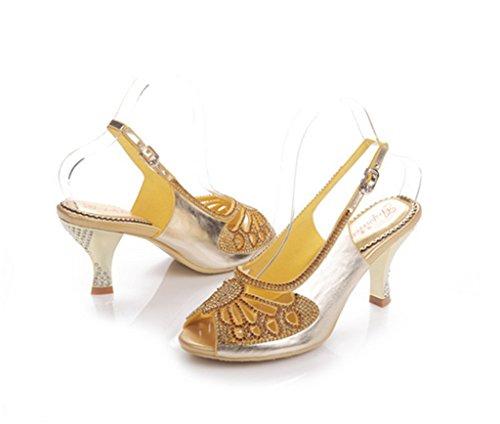 CRC Womens Peep Toe Surprising Sparkle Rhinestone Suede Evening Party Bride Bridesmaid Wedding Show Sandals Stiletto-gold SXbiKsHTig