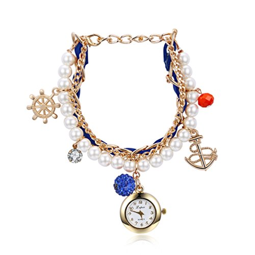 womens-ethnic-style-charm-bracelet-adjustable-watch-pearl-anchor-diamond-ball-gold-tone-dress-wrist-