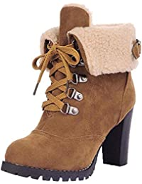 Women Lace-Up High Thick Short Boots Warm Fuzzy Shoes Leisure Ankle Boots High-