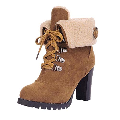 SMALLE ◕‿◕ Women Lace-Up High Thick Short Boots Shoes Leisure Ankle Boots High-Heel Boots Yellow