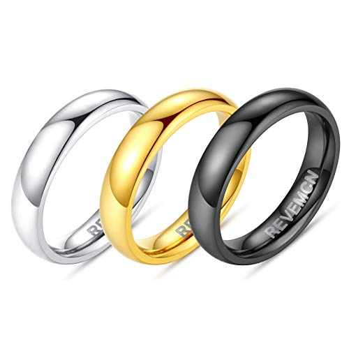 REVEMCN 2mm 3mm 4mm 5mm 6mm Stainless Steel Polished Finish Wedding Band Ring for Men Women 3 Color a Set (4mm, 4) -