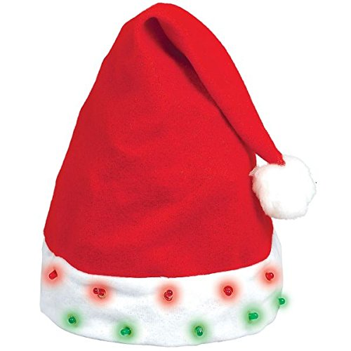 amscan Flashing Light Bulb Santa Hat Christmas Accessory