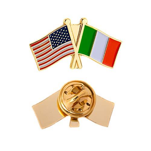 Irish Lapel Pin - Ireland Country Double Flag Lapel Pin Enamel with United States USA US Souvenir Hat Men Women Patriotic Irish (Double Flag Pin)