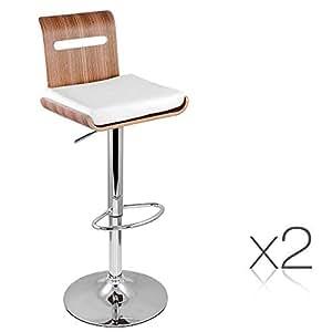 Set of 2 Wooden Bar Stool Kitchen Chair Natural
