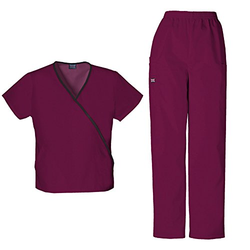 Mini Mock Wrap Scrub Top - Cherokee Women's Workwear Mini Mock Wrap Top 4800 & Pull On Pant 4200 Scrub Set (Wine - Medium/Medium Petite)
