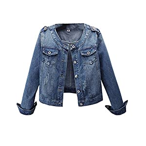 Women's Casual  Collarless Washed Denim Jean Jackets