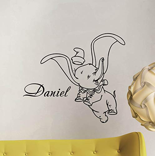 Dumbo Wall Decal Personalized Baby Name Poster Custom Sign Quote Disney Elephant Vinyl Sticker Gift Child Room Decor Playroom Wall - Made in USA-Fast ()