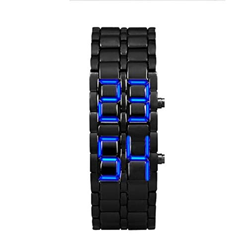 Men Watches On Sale Clearance, VANSOON Lava Style Iron Samurai Black Bracelet LED Japanese Inspired Watch Blue Sport Business Casual Bracelet Watch for Men Gift 2019 ()