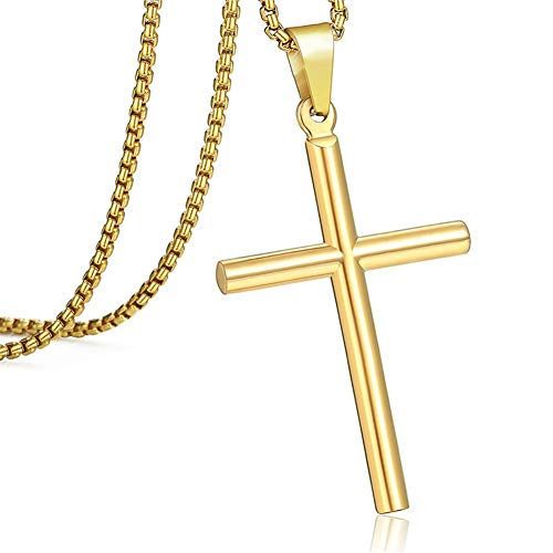 Zhjmgmxg Necklace Men and Women Retro Pendant Original Niche Pendant Cross Pendant Necklaces Best Choice Gift (Color : Gold, Size : 18in)