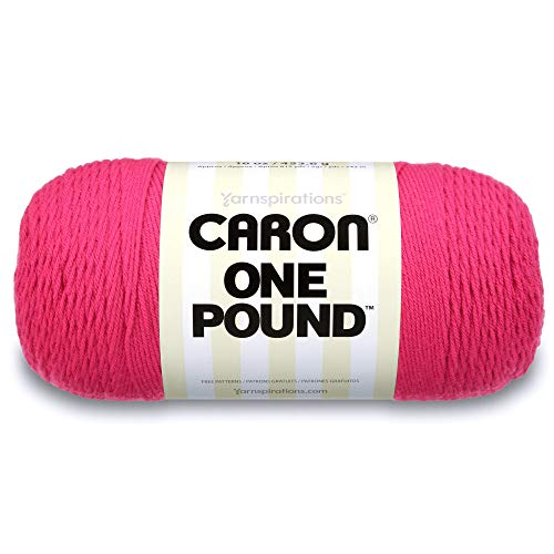 Caron  One Pound Solids Yarn - (4) Medium Gauge 100% Acrylic - 16 oz -  Dark Pink- For Crochet, Knitting & Crafting (Yarn Worsted Weight Pink)