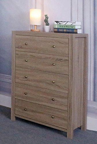 Mission 5 Drawer Chest (Eltra K Series Smart Home Brass Knobs 5 Drawers Chest Dresser (5 Drawers, Dark Taupe))