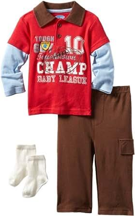 Bon Bebe Baby Boys' Champ Baby League 3 Piece Pant Set, Red/Brown/Blue, 12 Months