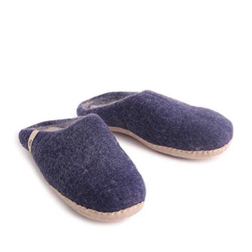 Size Wool Leather Blue On Comfort Suede Slippers Mens EGOS Sole Slip wqfxUvfI