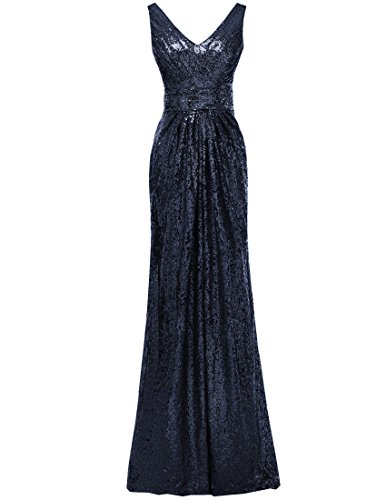 V Wedding SOLOVEDRESS Sleeves Evening Navy Sequined Bridesmaid Women's Cap Gown Neck Dresses 4UUqIR