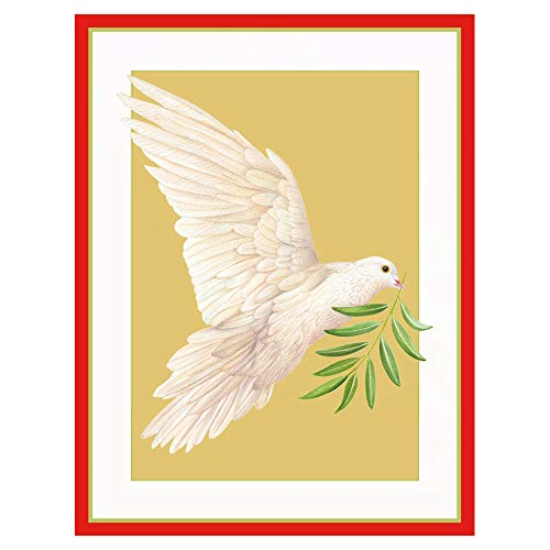 Caspari Dove with Branch Large Boxed Christmas Cards - 16 Cards & 16 Envelopes
