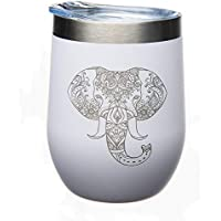 Elephant 12 oz. Double Insulated Stainless Steel Stemless Wine Glass with Lid-Laser Engraved- White Powder Coated Tumbler (white elephant)