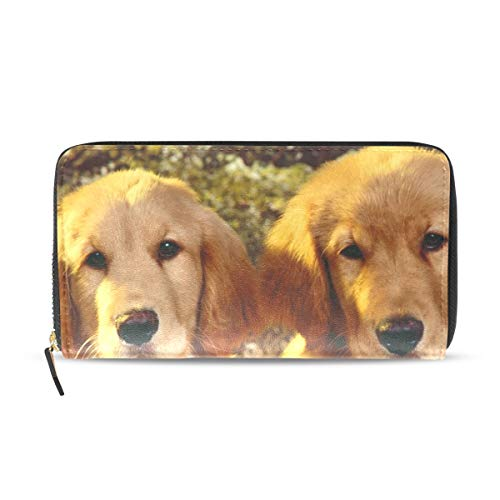Womens Wallets Golden Retriever Puppies Leather Passport Wallet Coin Purse Girls Handbags