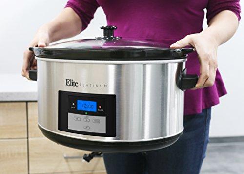 Elite Platinum MST-900D Maxi-Matic 8.5 Quart Digital Slow Cooker, Stainless Steel