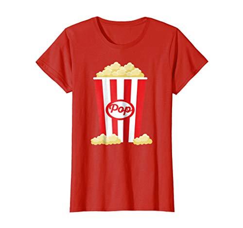 Womens Popcorn - Funny Last Minute Halloween Costume T-Shirt Medium Red ()
