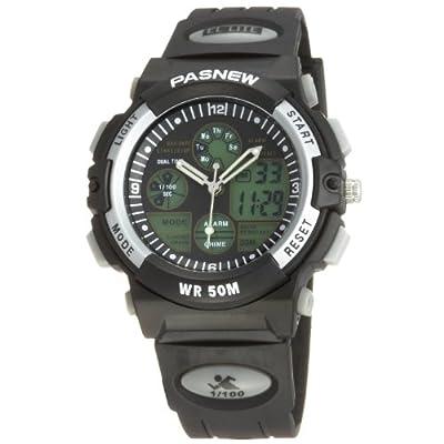 50m Water-proof Digital-analog Boys Girls Sport Digital Watch with Alarm Stopwatch Chronograph (Black)