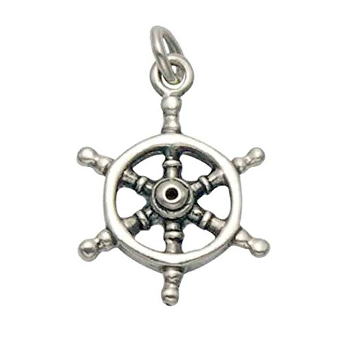 Wild Things Stainless Steel Nautical Ships Wheel Pendant/Charm ()