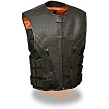 Milwaukee Leather Men's Bullet Proof Look Swat Vest w/ Single Panel Back & Dual Inside Gun Pockets (X-Large)