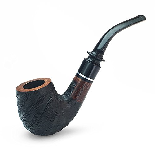 FULUSHOU Mediterranean Briar Wood Tobacco Pipe, Simple Mini Carving Bend Tobacco Pipe,Dad Gift