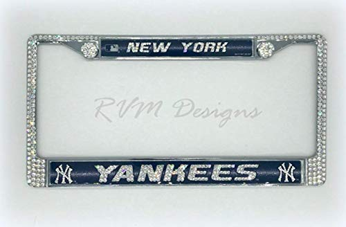 Bling Handmade New York Yankees License Plate Frame made with Genuine Swarovski Crystals -  RVMdesigns