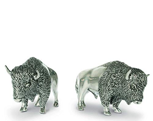 (Vagabond House Pewter Bison Salt & Pepper Set 3
