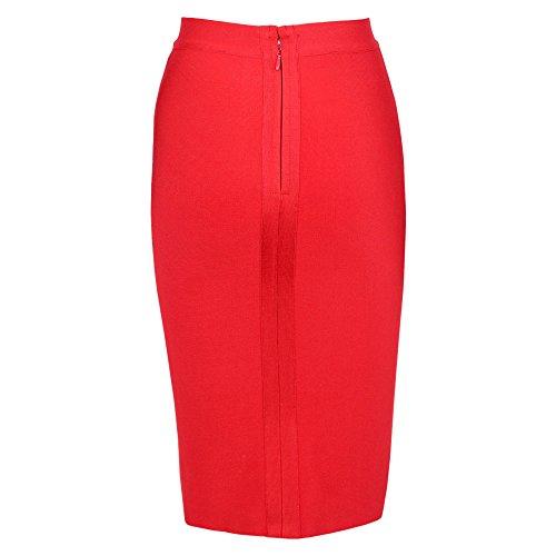 Rouge Rayon High Knee Wait Skirt Bandage HLBandage Length TqpOfvwn0