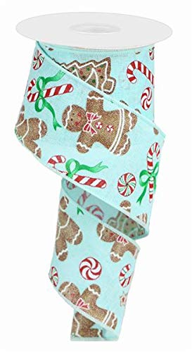 Gingerbread with Candy Canvas Wired Edge Ribbon - 10 Yards (Ice Blue, 2.5