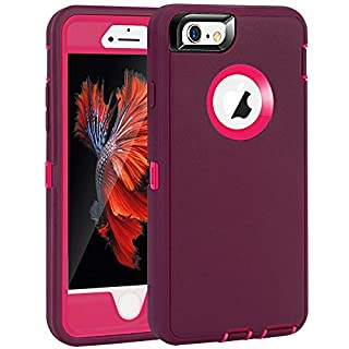 """MAXCURY iPhone 6 Case, iPhone 6S Case, Heavy Duty Shockproof Series Case for iPhone 6/6S (4.7"""")-V2 with Built-in Screen Protector Compatible with all US Carriers (Wine and Fuchsia)"""
