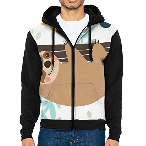 - Mens Sloth Hanging Tree Fashion Hoodies Unique Jacket Print Zipper Sweatshirts Jumper Black