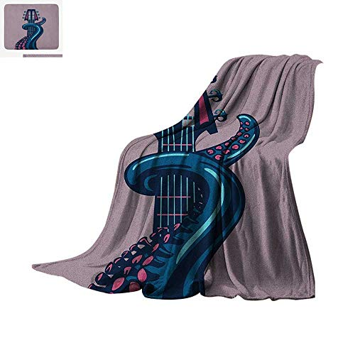 (Octopus Lightweight Blanket Sea Animal with Guitar Riff Musical Instrument Rock and Roll Modern Artwork Print Velvet Plush Throw Blanket 62