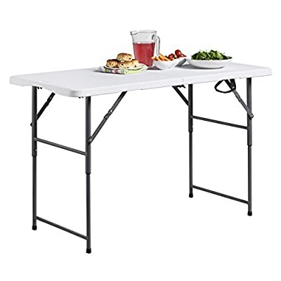 VonHaus 4ft Folding Table with Adjustable Height Portable Table: Picnic/Garden / Tailgate/Beach / Camping/Functions / Buffet/BBQ - Max Load 440lbs, Coated Steel & Extra Strong Durable Plastic
