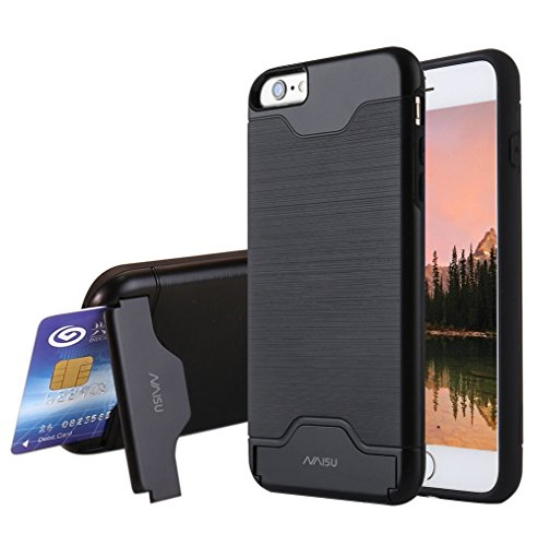 iPhone 6 / 6S Case, NAISU Card Slot Holder Kickstand Dual Layer Hybrid Protective Case with Brush Finish Back Cover for Apple iPhone 6 / 6S (4.7 Inch)-Black