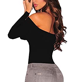 - 41Qv8oqbFkL - Eiffel Women's Long Sleeves Bodysuit Off Shoulder Leotard Jumpsuits Rompers Tops