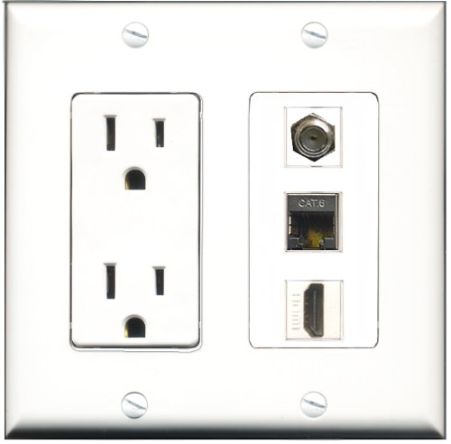 RiteAV - 15 Amp Power Outlet 1 Port HDMI 1 Port Coax 1 Port Shielded Cat6 Ethernet Ethernet Decora Wall Plate