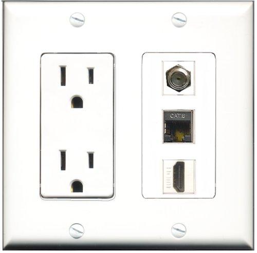 RiteAV - 15 Amp Power Outlet 1 Port HDMI 1 Port Coax 1 Port Shielded Cat6 Ethernet Ethernet Decora Wall Plate