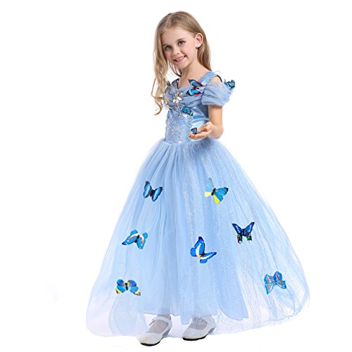 Cinderella Costumes 2016 (Sophiashopping 2016 New Cinderella Princess Cosplay Dress Costume Butterfly Girl Light Blue 3T)