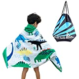 Vankcp Hooded Beach Towel, 100% Cotton Toddler Poncho Towel with Waterproof Drawstring Bag for Kids Boy Girl