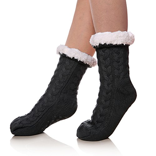 SDBING Women's Winter Super Soft Warm Cozy Fuzzy Fleece-lined Christmas Gift With Grippers Slipper Socks (Gray B) (Stockings Size Plus Lined)