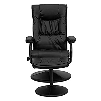 Flash Furniture Contemporary Black Leather soft Recliner/Ottoman with Wrapped Base