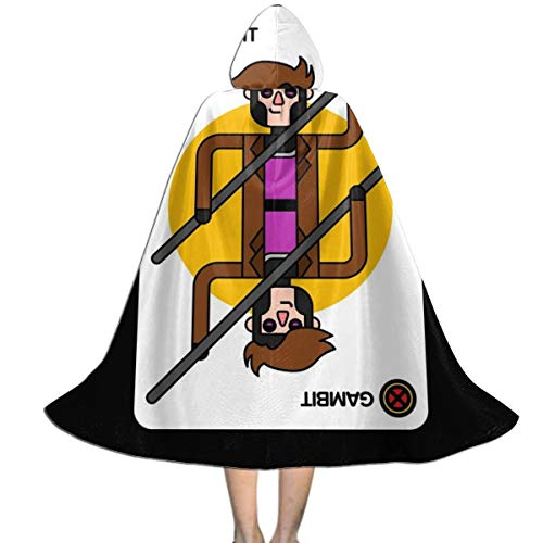 Gambit Costume Halloween (SEDSWQ X Men Gambit Playing Card Unisex Kids Hooded Cloak Cape Halloween Xmas Party Decoration Role Cosplay Costumes)