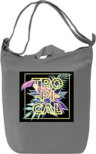 Tropical Print Borsa Giornaliera Canvas Canvas Day Bag| 100% Premium Cotton Canvas| DTG Printing|